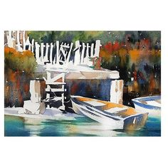 Thomas W Schaller - Watercolor Artist Dock #venicebeach #canals #california…