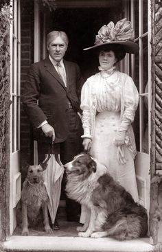 George Alexander Gibb Samson a.k.a. Sir George Alexander (L), (1858 –1918), and his wife Lady Florence Jane Alexander nee Théleur, with their dogs Patsy and Pan Photograph by Foulsham & Banfield.  Sir George was an English stage actor, theatre producer and theatre manager. Sir George was knighted in 1911.
