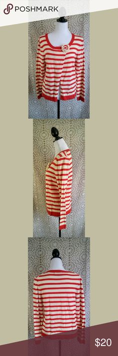 "Boden striped sweater Approximate measurements: ~24"" from shoulder to hem, ~18"" bust laying flat, ~18"" waist laying flat  This red striped sweater features an open front that is closed with a button at the neckline.?  UK 14 / US 10 Boden Sweaters Crew & Scoop Necks"