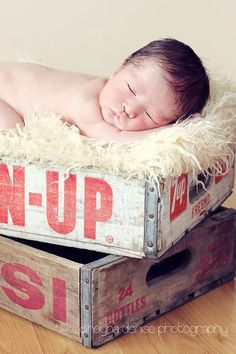 Adorable Babies in Vintage Crates