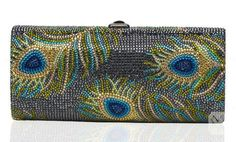 I help this peacock clutch handbag