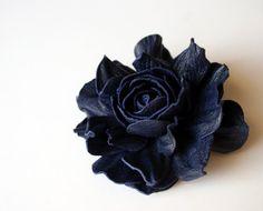 Blue Leather Rose Flower Brooch by leasstudio on Etsy, $20.00