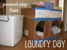 make a washer and dryer out of empty boxes