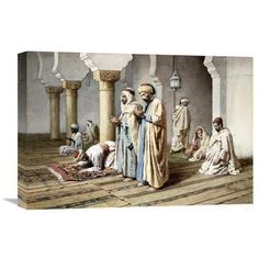 """Global Gallery 'Arabs at Prayer' by Frederico Bartolini Painting Print on Wrapped Canvas Size: 24.7"""" H x 36"""" W x 1.5"""" D"""