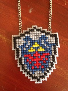 Legend of Zelda - Hylian Shield Cross Stitch Necklace Little Red Stitches