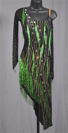 Elegant Black and Green Beads Latin Dress