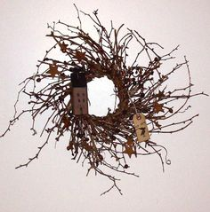 Saltbox House Twig Wreath with Berries and Stars-Saltbox Berry Twig Wreath,Twig wreath,Country Wall Decor,Country Primitive Decor,Saltbox Ho...