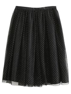 Golden Thread Tulle Layered Skirt - BLACK S