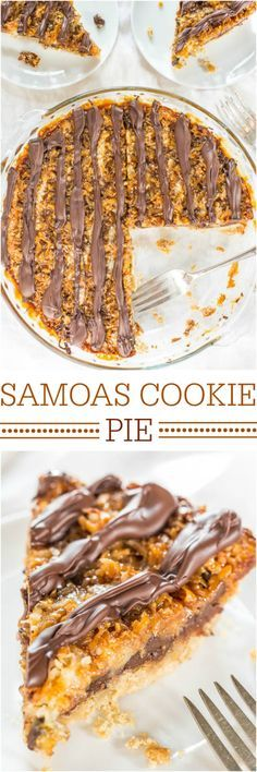 Samoas Cookie Pie - Move over Girl Scout Cookies! The flavor in this easy, giant cookie is 100% spot-on!! Hello year-round cookie season!!