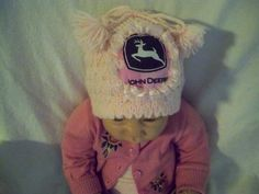 pink stuff   Custom Handmade Knit Pink John Deere Baby Hat by magge03 on Etsy