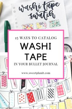 How Do You Keep Track of All Your Washi Tape? 15 Ways to Catalog Washi Tape in Your Bullet Journal Bullet Journal Contents, Organization Bullet Journal, Bullet Journal Font, Journal Fonts, Bullet Journal Tracker, Bullet Journal Printables, Bullet Journal Junkies, Bullet Journal School, Bullet Journals