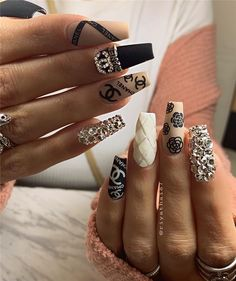 20 Stunning Long Coffin Nails With Rhinestones You Must Ongles Bling Bling, Rhinestone Nails, Bling Nails, Nail Art Designs, Long Nail Designs, Nail Swag, Glam Nails, Fancy Nails, Chanel Nails Design