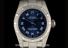 rolex stainless steel o p blue roman dial non date ladies bp 176210 A Stainless Steel Oyster Perpetual Non-Date Ladies Wristwatch, blue dial with roman numerals and applied hour markers, a fixed stainless steel engine - Watchcentre Used Rolex, Dating Women, Expensive Watches, Rolex Oyster Perpetual, Patek Philippe, Audemars Piguet, Oysters, Omega Watch, Rolex Watches