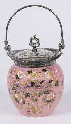 388: Victorian Enameled Glass Biscuit Jar : Lot 388
