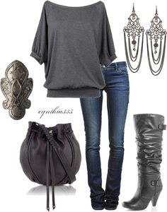 blue jeans, grey loose top, grey boots, accessories