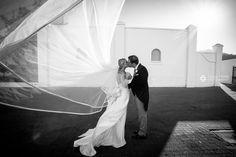 Wedding Photography Bride and Groom Black and White Wedding Dress Veil