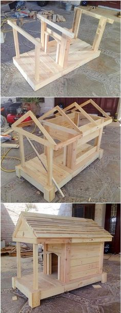 People mostly weste the shipping pallets but there are fantastic ideas for upcycling of these wooden pallets. You can modify design of your furniture and design… Wood Dog House, Pallet Dog House, Dog House Bed, Wooden Pallet Projects, Wooden Pallets, Pallet Benches, Pallet Tables, Pallet Bar, Outdoor Pallet