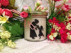 Ti voglio bene Nonna Vasetto con candela con silhouette