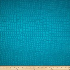 Golding Crocodile Flannel Back Satin Teal from @fabricdotcom  This flannel backed embossed (quilted appearance) polyester satin fabric is perfect for accent pillows and upholstery projects such as ottomans, poufs and headboards.