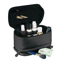 Royce Leather Cosmetic Travel Bag in Full Grain Milano Cowhide, Black