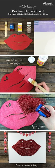 DIYFriday Pucker Up Glitter Lips Wall Art Valentine