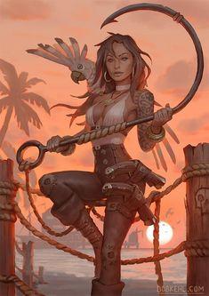 Female Character Design, Character Drawing, Character Illustration, Character Concept, Fantasy Warrior, Fantasy Rpg, Fantasy Artwork, Pirate Art, Pirate Woman