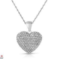 Ebay NissoniJewelry presents - Ladies' 1CT Diamond Heart Pendant 14K White Gold  5R Chain    Model Number:PV3337K_W453    http://www.ebay.com/itm/Ladies-1CT-Diamond-Heart-Pendant-14K-White-Gold-5R-Chain/321612026393