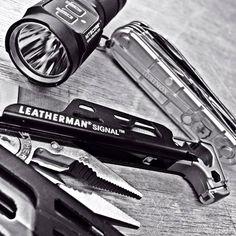 The Perfect Outdoor EDC. The Leatherman Signal Multi-tool, Nitecore EA1 and a Victorinox Spartan Silver Tech