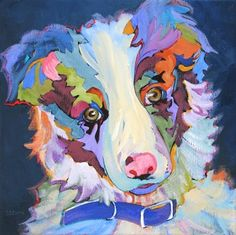 Kiz contemporary dog portrait painting, painting by artist Carolee Clark