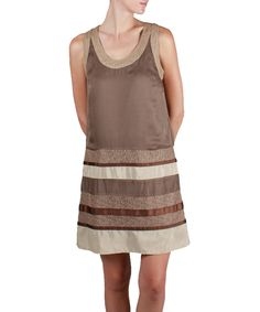 Love this Brown & White Stripe Sleeveless Dress by Ryu on #zulily! #zulilyfinds