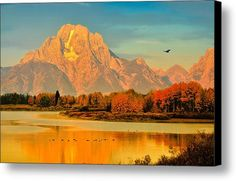 Autumn Dawn At Oxbow Bend Canvas Print / Canvas Art By Greg Norrell