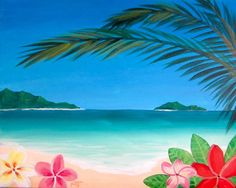 Hawaiian Tropics plumeria flower and beach painting. Love the flowers!