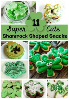 11 Super Cute Shamrock Shaped Treats. These St. Patrick's day treats will be the hit of your party! Includes tasty snack and dessert ideas in that fun four leaf clover shape! #StPatricksDay #StPaddysDay #Shamrock #HolidayTreats