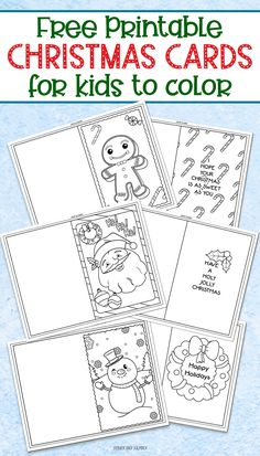 fun Christmas Crafts FREE printable Christmas cards for kids to color and send! Perfect for teacher gifts, grandparent gifts, or a Christmas random act of kindness. Super cute and fun Christmas craft for kids! Free Printable Christmas Cards, Diy Christmas Cards, Christmas Crafts For Kids, Christmas Colors, Christmas Themes, Christmas Holidays, Kindergarten Christmas Crafts, Christmas Card For Teacher, Coloring Christmas Cards