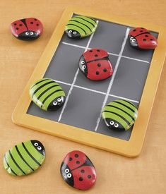 Bugsy Match - You will love how easy it is to make this version of tic tac toe with painted ladybug rocks. Another idea for the tic tac toe rocks Kids Crafts, Crafts To Do, Projects For Kids, Diy For Kids, Craft Projects, Arts And Crafts, Craft Ideas, Beach Crafts, Easter Crafts