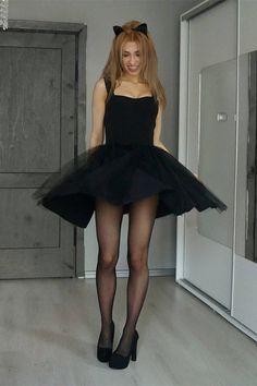 A-Line Square Neck Sleeveless Black Tulle Homecoming Dress, Shop plus-sized prom dresses for curvy figures and plus-size party dresses. Ball gowns for prom in plus sizes and short plus-sized prom dresses for Dresses Short, Simple Dresses, Sexy Dresses, Pantyhose Outfits, Black Pantyhose, Nylons, Mini Robes, Lace Evening Dresses, Homecoming Dresses