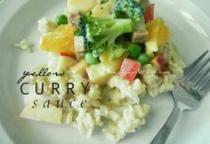 yellow curry sauce recipe. Fluffy bed of rice + desired toppings + curry sauce = delicious buffet style meal!