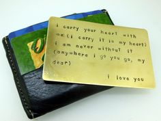 Brass Wallet Insert - Hand Stamped - Credit Card Size - Wallet Card. $52.00, via Etsy.