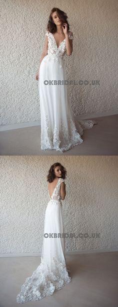 Applique Vintage Backless Beach Wedding Dresses, Tulle V-Neck Wedding Gowns, KX566 #okbridal #weddingdress