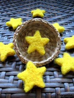 Felt Stars, Handmade Merino wool felt stars, felted stars, yellow felt stars, felt beads, felted beads, yellow star beads, 10 pcs