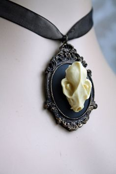 Bat Skull Cameo Ribbon Necklace Gothic Bat Skull by poppenkraal