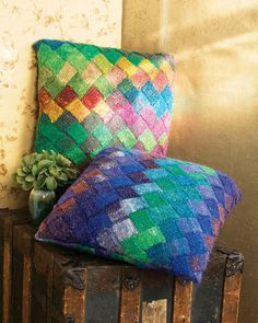 """Design: 16 - Entrelac Pillow Covers, from """"Noro Magazine Sixth Issue"""" using Noro Silk Garden Lite Knitting Kits, Knitting Stitches, Knitting Designs, Knitting Projects, Knitting Patterns, Knitting Ideas, Knitted Cushions, Knit Pillow, Pillow Covers"""
