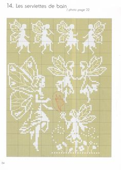 Cross Stitch Chart for Fairies - White on Cream