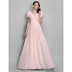 A-line/Princess V-neckl Floor-length Chiffon Grace Evening/Prom Dress – USD $ 149.99