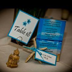 Table numbers made using Word, cut and mounted on card stock. Sand castle holder was purchased at Christmas tree shop for $0.85 a piece. Starfish escort cards were also handmade as well as donation sign on each table (did a donation in place of a favor)