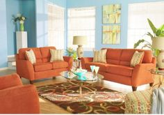 Great Blue Living Room Idea Combined with Orange Sofa Blue orange ...