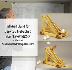 19-W3630 - Desktop Catapult Woodworking Plan. A real, working catapult in miniature for your desktop! Have fun launching small wiffle balls or ping-pong balls across the room, reaching a distance of over 18 feet!