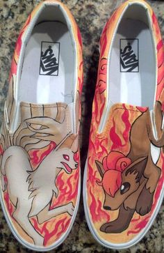 Custom SlipOn Pokemon Shoes by customshoesbysarah on Etsy, I wouldn't wear them but they are awesome!