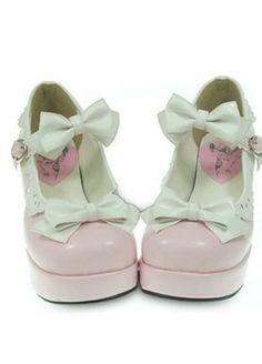 pink white High heels Platform Bows PU Sweet Lolita Shoes