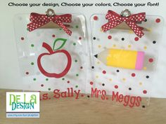 Personalized with name clear acrylic clipboard, teacher apple, pencil or school bus, polka dots or other design, student, back to school